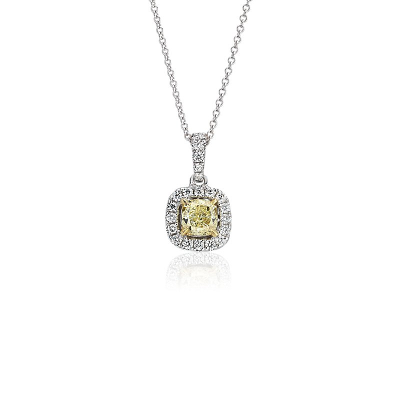 Yellow Diamond Cushion-Cut Halo Pendant in 18k White and Yellow G