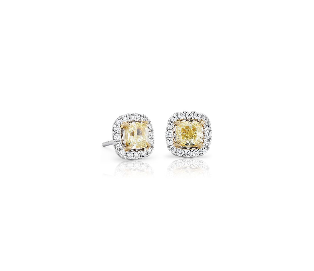 Cushion Cut Yellow Diamond Halo Stud Earring In 18k White And Gold 1 2 Ct Tw