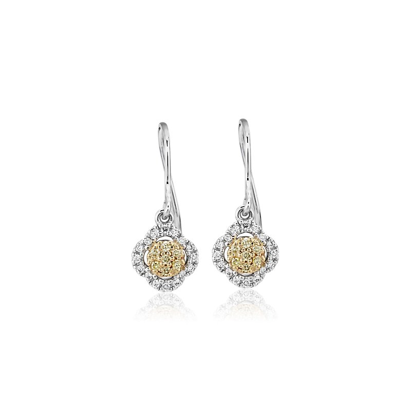 Yellow Diamond Clover Halo Drop Earrings in 14k White and Yellow Gold (1/5 ct. tw.)