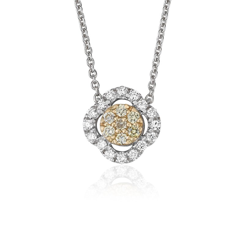 Yellow Diamond Clover Halo Pendant in 14k Yellow and White Gold (