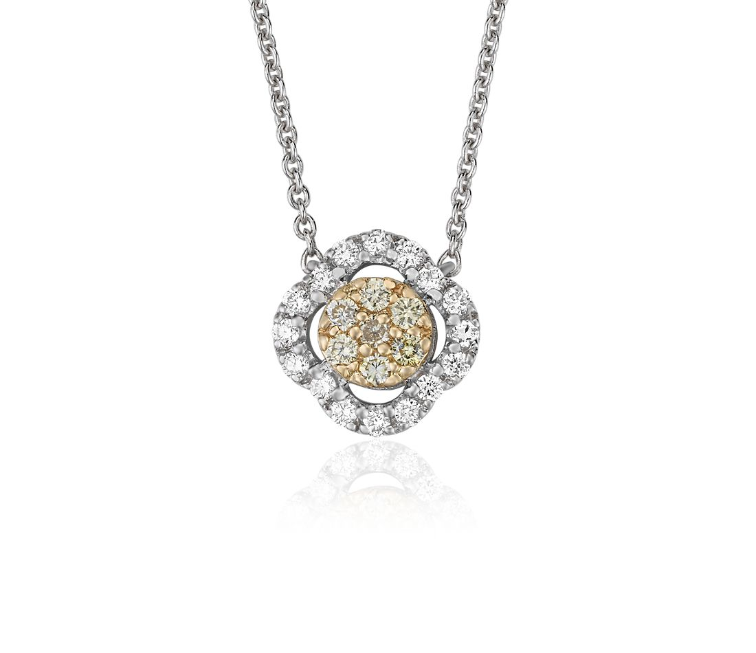 Yellow Diamond Clover Halo Pendant in 14k Yellow and White Gold (1/4 ct. tw.)