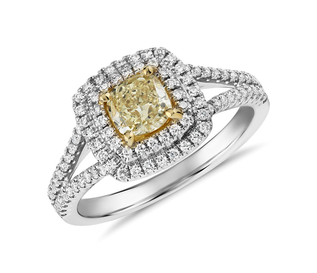 Yellow Diamond Cushion-Cut With Double Halo Ring In 18k