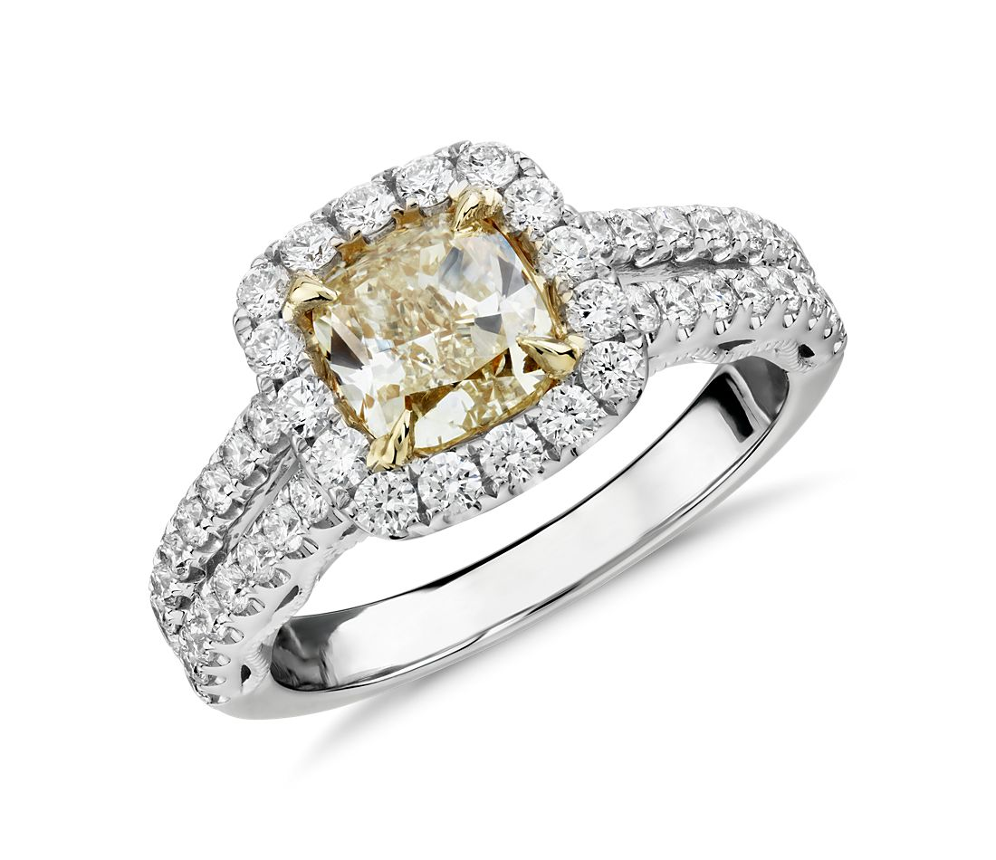 Cushioncut Yellow Diamond Split Shank Ring In 18k White And Yellow Gold  (201