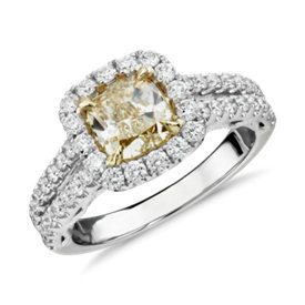 Cushion-Cut Yellow Diamond Split Shank Ring in 18k White and Yellow Gold (2.01 ct. tw.)