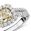Cushion-Cut Yellow Diamond Split Shank Ring in 18k White and Yellow Gold (2.01 ct. tw.)