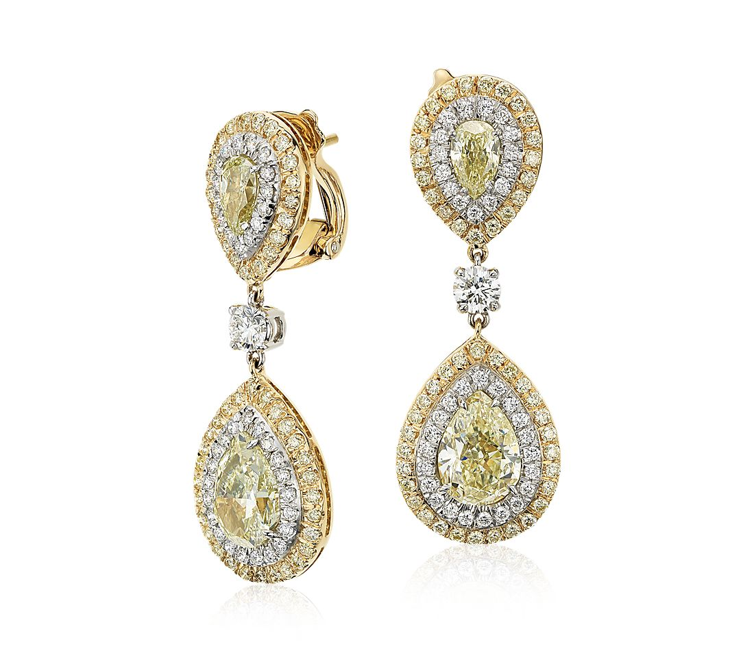 yellow diamond halo earrings - photo #9