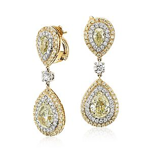 Yellow and White Diamond Double Halo Drop Earrings in 18k Yellow Gold and Platinum (7.43 ct. tw.)