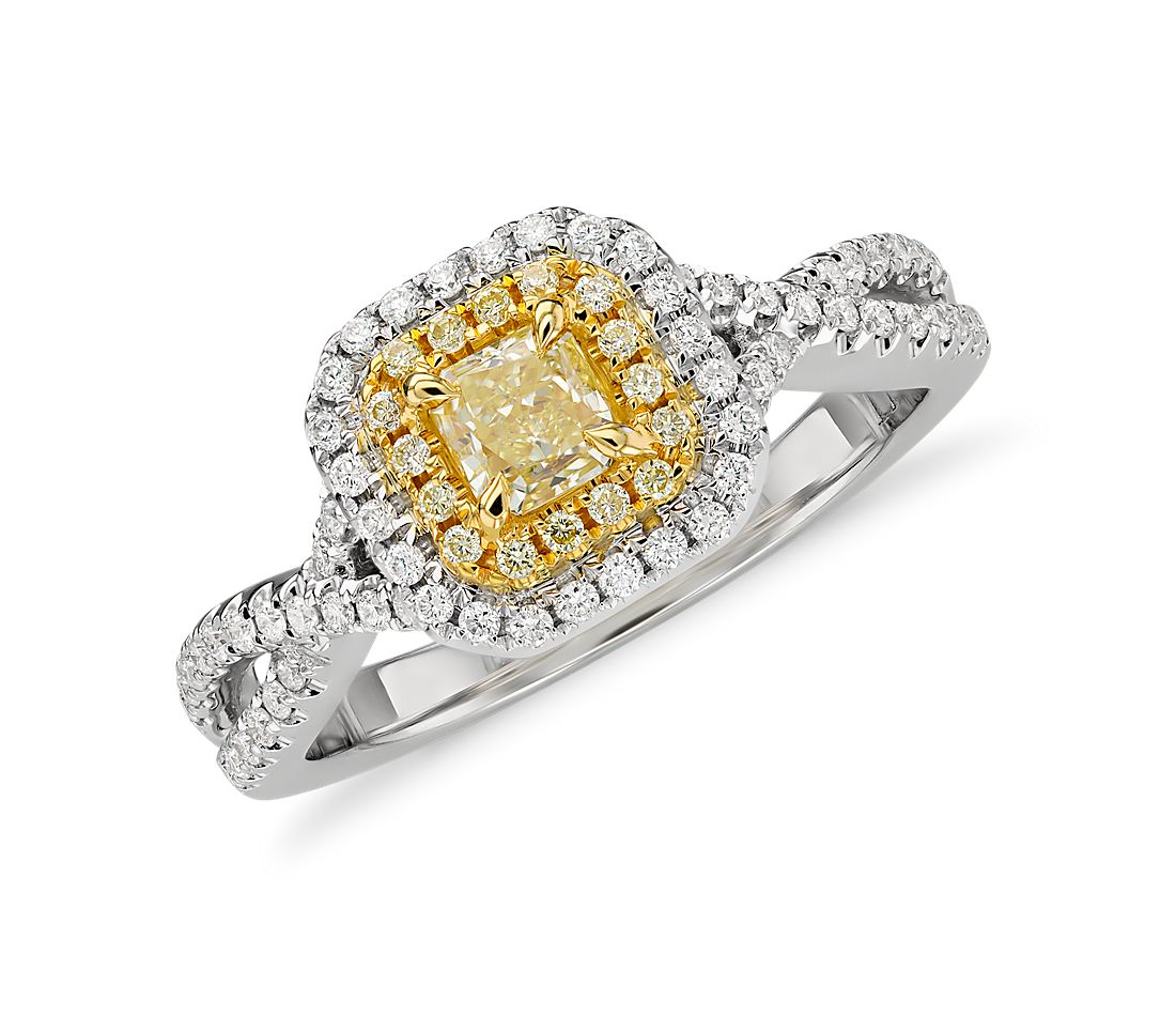 Yellow Diamond Radiantcut Double Halo Twist Ring In 18k White And Yellow  Gold (