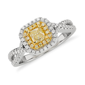 Anillo de diseño torcido y doble halo con diamante amarillo de talla radiante en oro blanco y amarillo de 18k (0,72qt total)