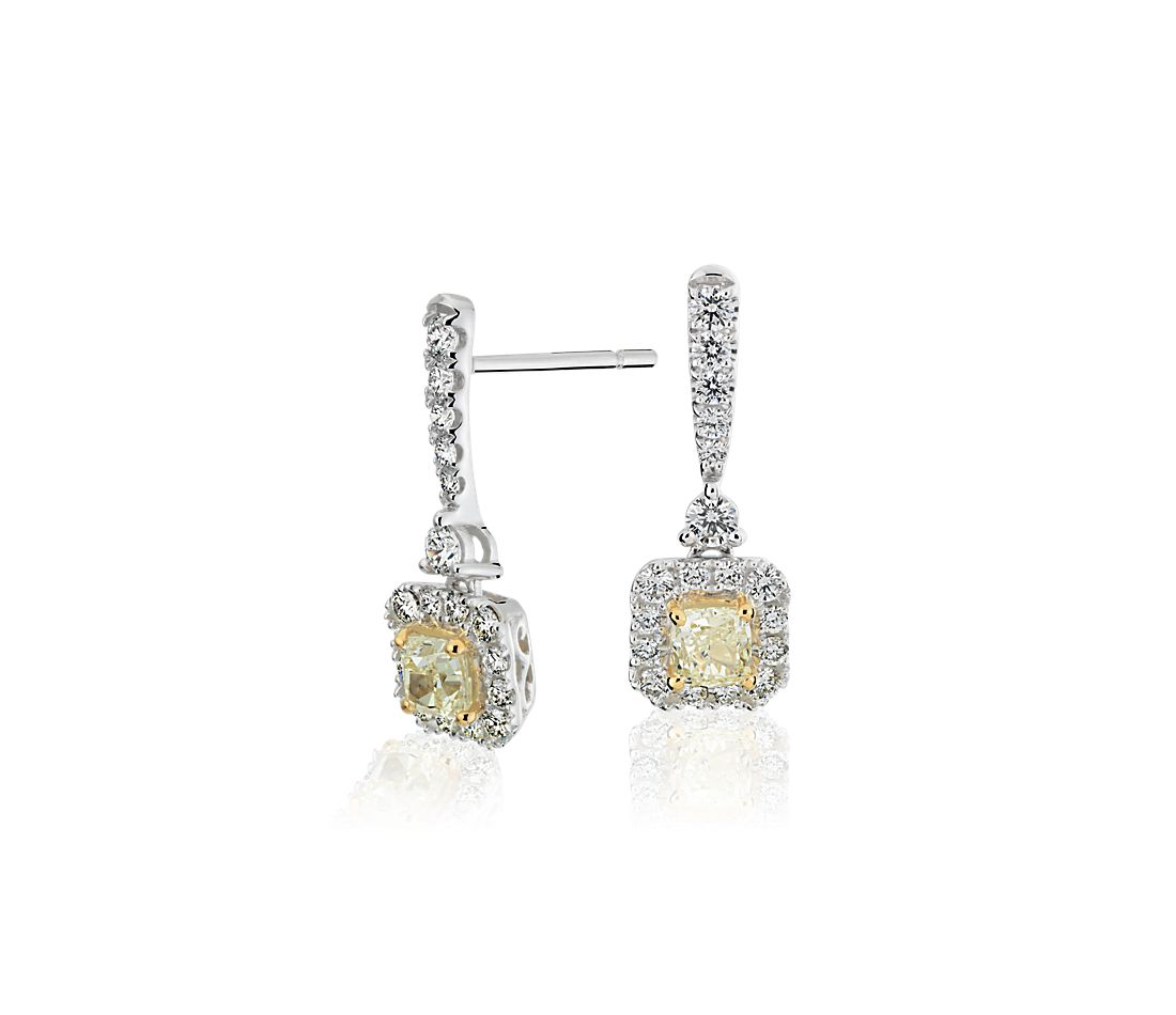 Yellow Diamond Drop Earrings In 14k White And Gold 1 22 Ct Tw