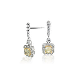 Yellow Diamond Drop Earrings in 14k White and Yellow Gold (1.22 ct. tw.)