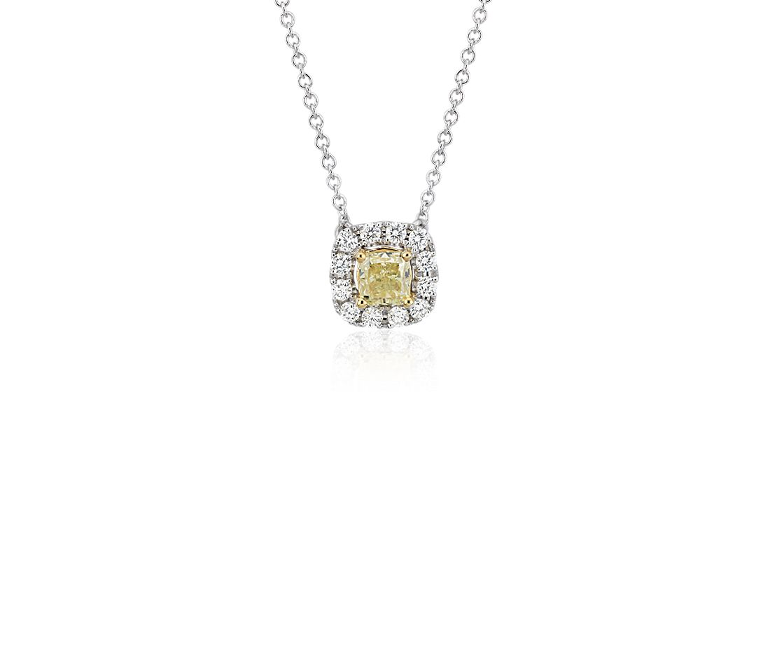Yellow Diamond Drop Pendant in 14k White and Yellow Gold (3/4 ct. tw.)