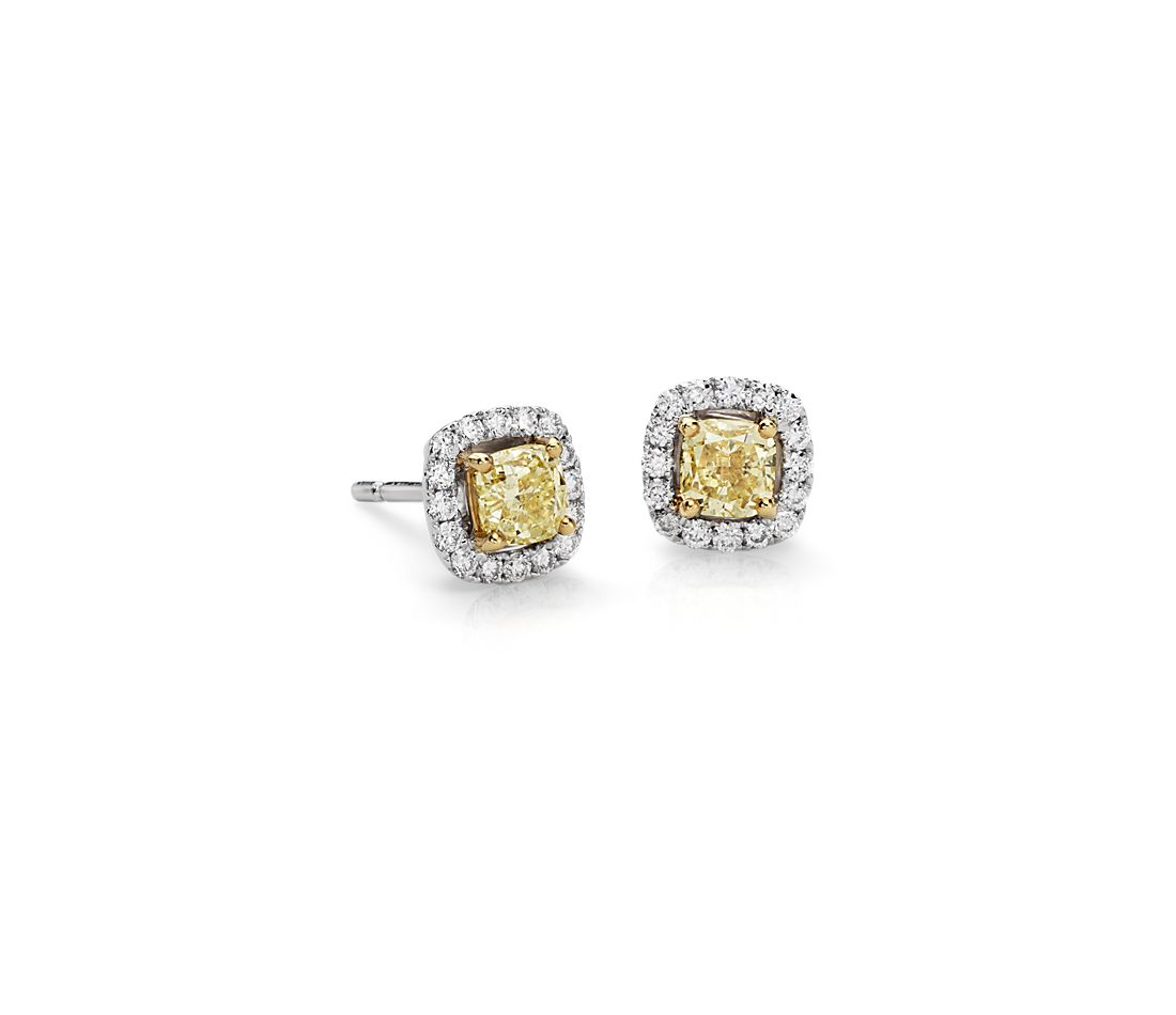 Yellow Diamond Halo Stud Earrings in 14k White Gold