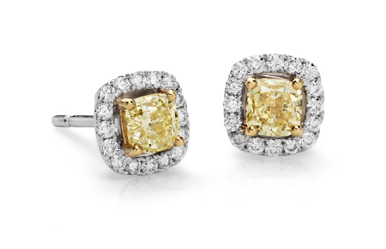14k 白金光环黄色钻石耳环(1 克拉总重量)