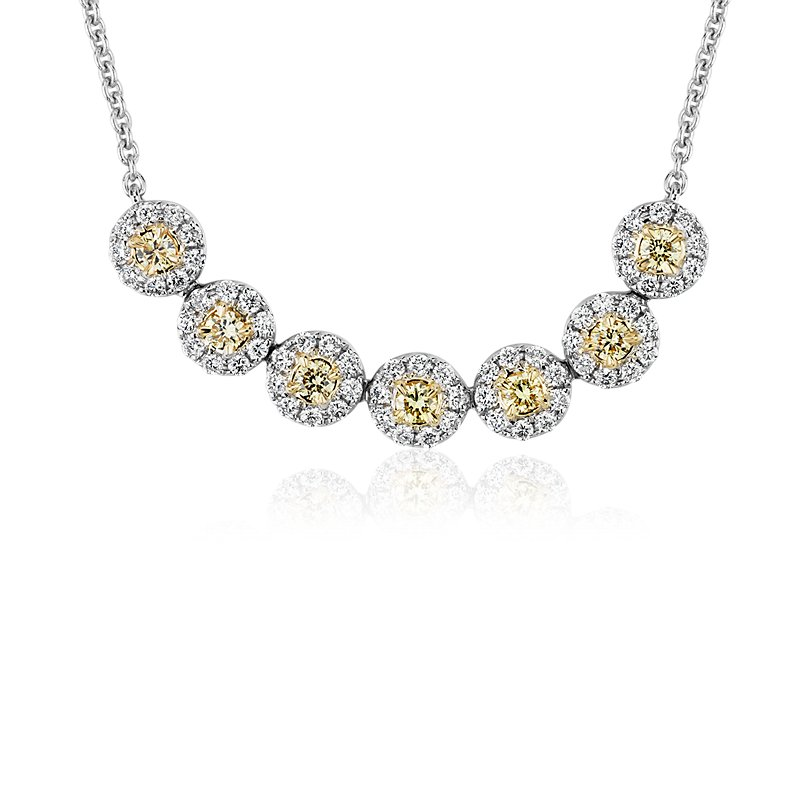 Yellow Diamond Halo Smile Necklace in 18k White and Yellow Gold (