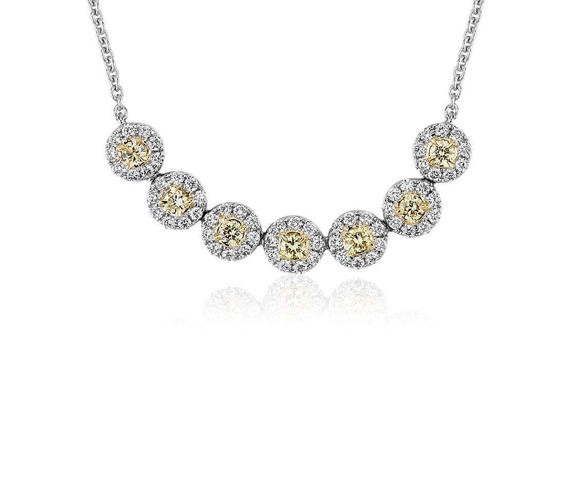 Yellow Diamond Halo Smile Necklace in 18k White and Yellow Gold (5/8 ct. tw.)