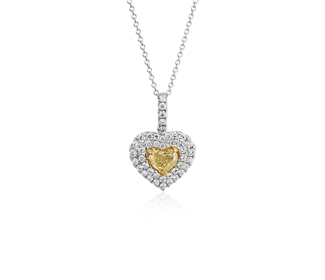 Yellow Diamond Heart Pendant in 18k White Gold (0.91 ct. tw.)