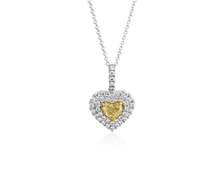 Yellow diamond heart pendant in 18k white gold 091 ct tw yellow diamond heart pendant in 18k white gold 091 ct tw mozeypictures Images