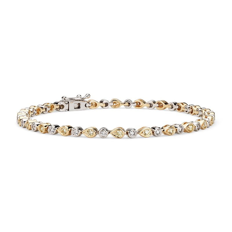 Yellow Diamond Mixed Shape Bezel Bracelet in 14k Yellow and White