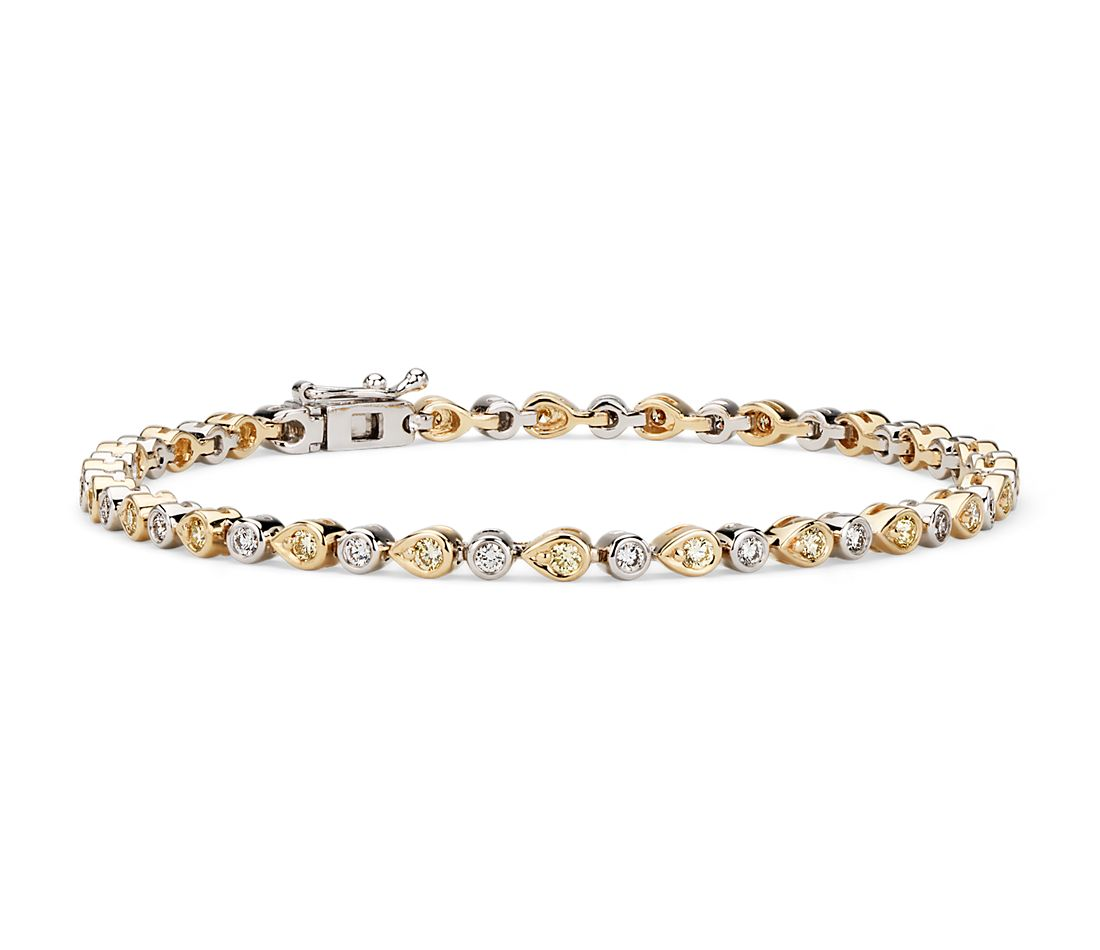 Yellow Diamond Mixed Shape Bezel Bracelet in 14k Yellow and White Gold (1 1/5 ct. tw.)