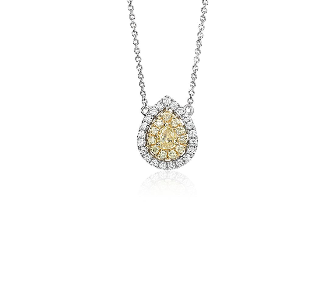 4daf029fd50fb Yellow Diamond Pear Necklace in 18k White and Yellow Gold