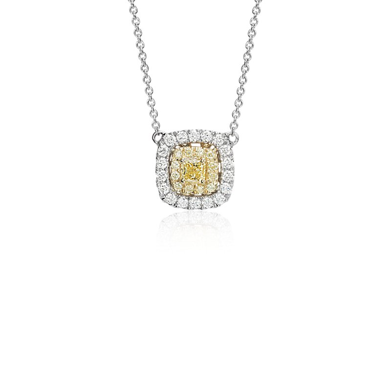 Yellow Diamond Cushion Necklace in 18k White and Yellow Gold