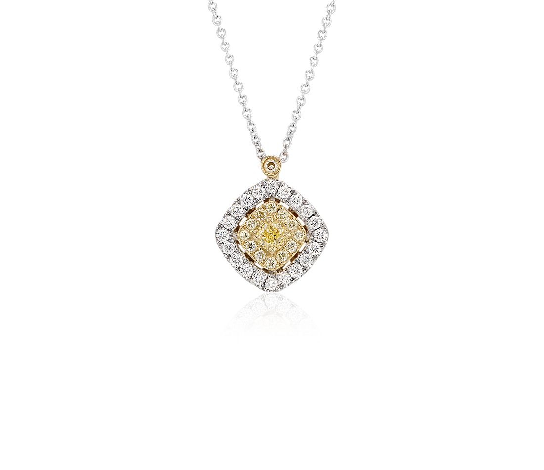 Yellow Diamond Pendant with Halos in 18k White and Yellow Gold (1/2 ct. tw.)