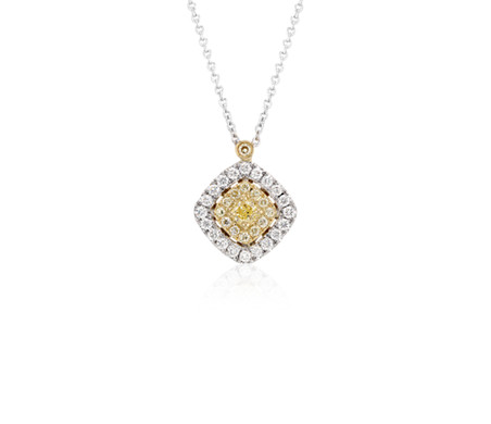 Yellow diamond pendant with halos in 18k white and yellow gold 35 yellow diamond pendant with halos in 18k white and yellow gold 35 ct aloadofball Image collections