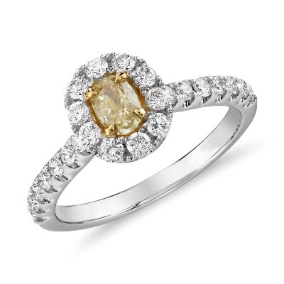 Yellow Diamond OvalCut Halo Ring with Side Stones in 18k White Gold