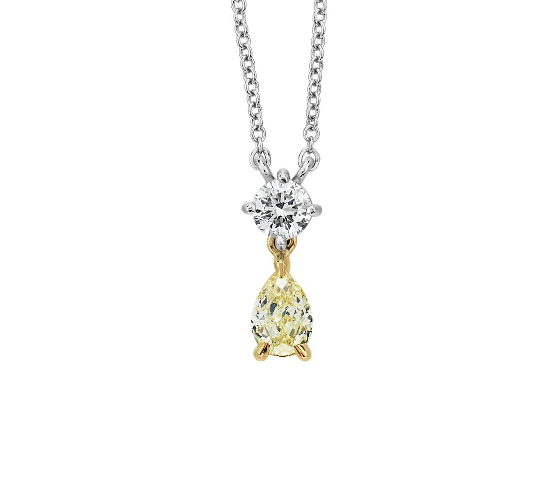 Yellow Diamond Round and Pear Shape Pendant in 14k White and Yellow Gold (.45 ct. tw.)