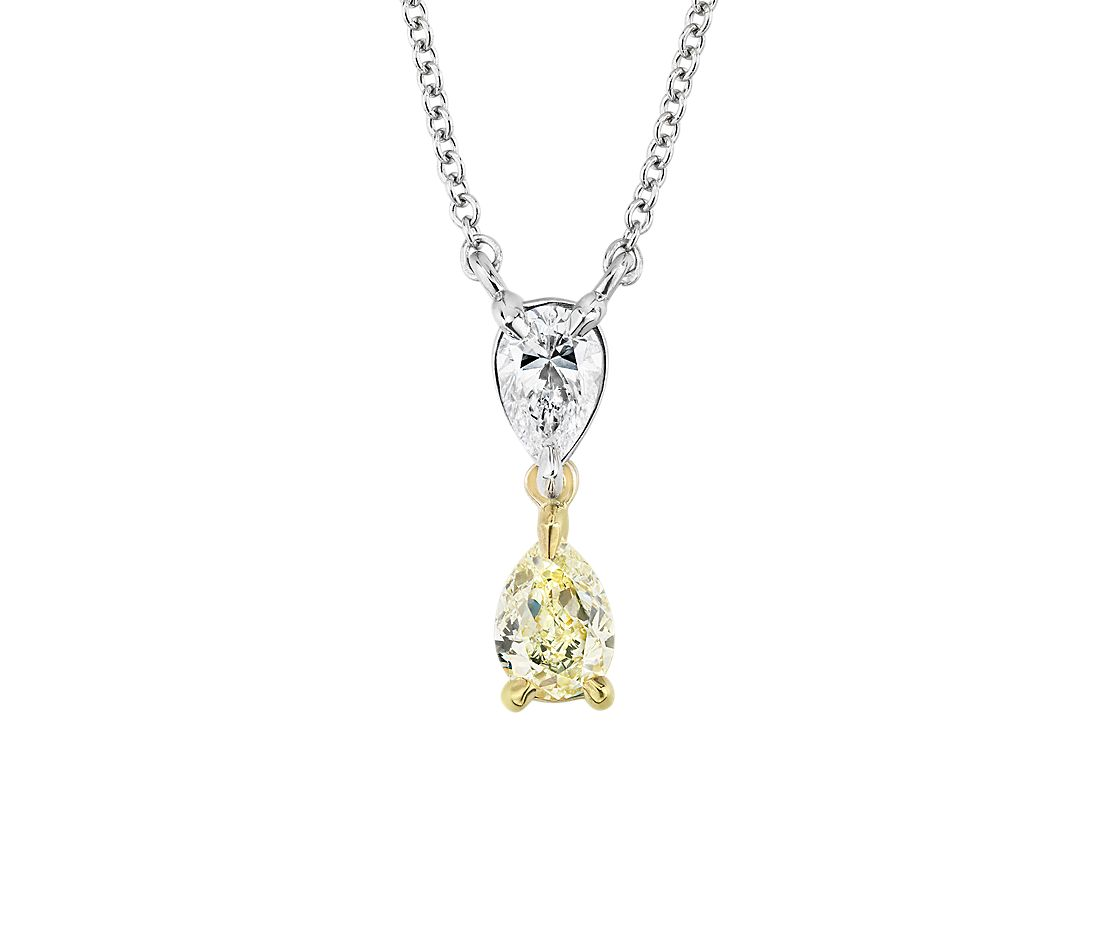 Yellow Diamond Pear Shape Pendant in 14k White and Yellow Gold (.45 ct. tw.)