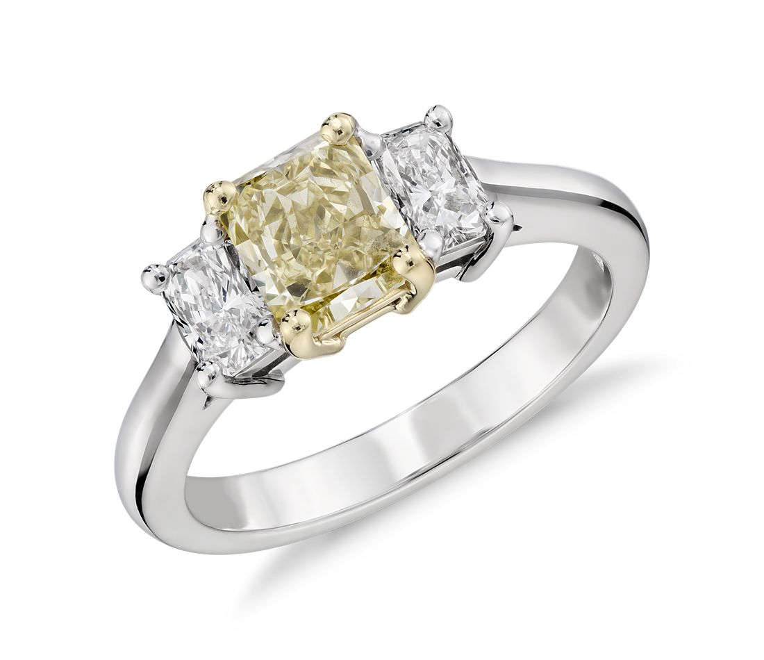 Extraordinary Collection Fancy Light Yellow Diamond Threestone Ring In  18k White And Yellow