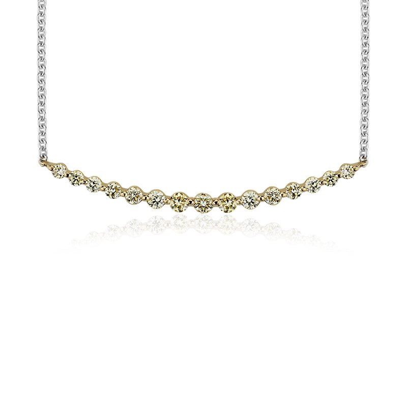 Yellow Diamond Smile Necklace in 18k Yellow and White Gold (3/8 c
