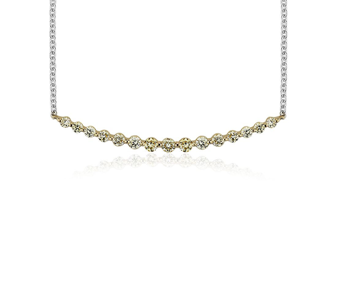 Yellow Diamond Smile Necklace in 18k Yellow and White Gold (3/8 ct. tw.)