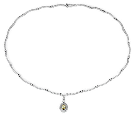 Yellow Diamond Eternity Statement Necklace in 18k White Gold (5 ct. tw.)