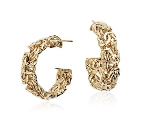 """Byzantine Hoop Earrings in 18k Yellow Gold (1"""")"""