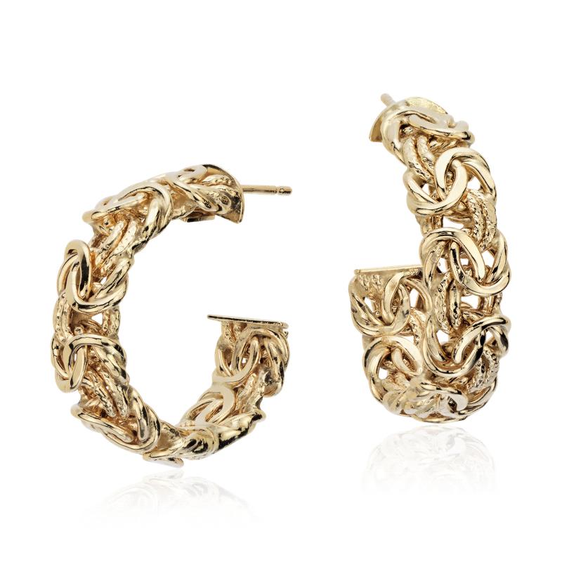 """Byzantine Hoop Earrings in 18k Italian Yellow Gold (1"""")"""