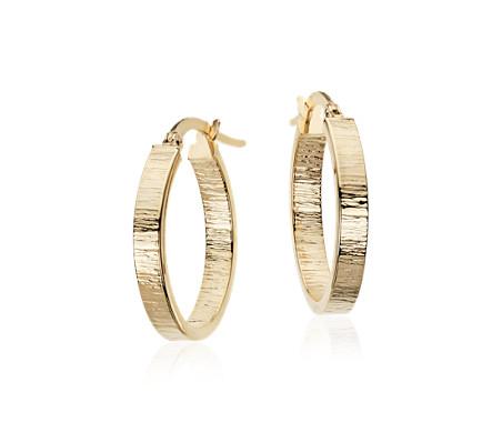 Blue Nile Hammered Hoop Earrings in 14K Italian Yellow Gold (7/8) L045NoUHL