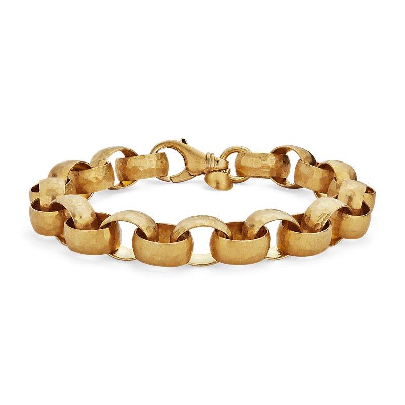 18k Yellow Gold Solid Hammered Link Bracelet