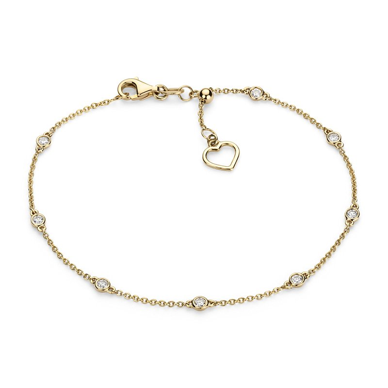 Diamond Station and Heart Bracelet  in 14k Yellow Gold (1/4 ct. t