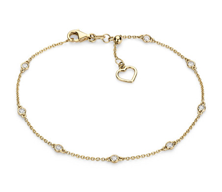 Blue Nile Petite Heart Bracelet in 14k Yellow Gold x6AME80tB