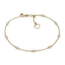Brazalete con adornos de diamantes y corazón en oro amarillo de 14k (1/4 qt. total)