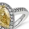 Fancy Yellow Micropavé Halo Diamond Ring in Platinum (2 ct. tw.)