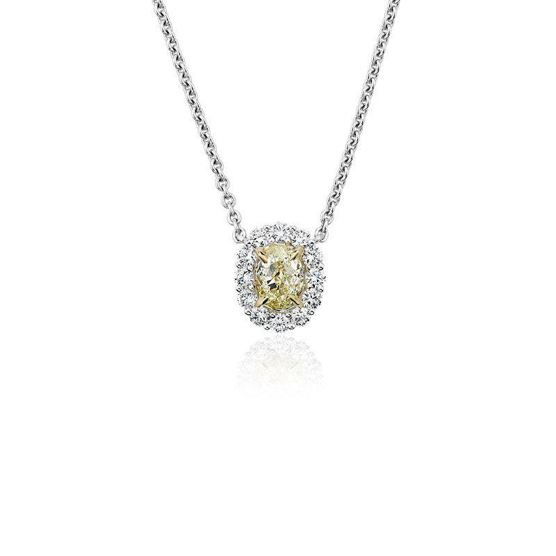 Yellow Oval-Cut Diamond Halo Station Pendant in 18k Yellow and Wh
