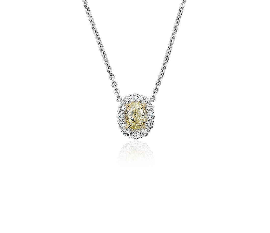 Yellow Oval-Cut Diamond Halo Station Pendant in 18k Yellow and White Gold (1 1/5 ct. tw.)