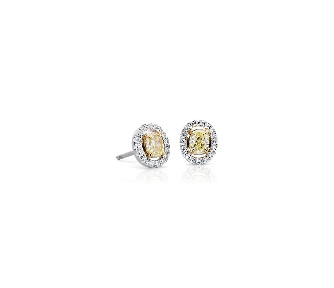 3e5711f1aef8e Oval-Cut Yellow Diamond Halo Stud Earring in 18k White and Yellow Gold (3/4  ct. tw.)
