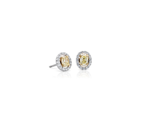Oval Cut Yellow Diamond Halo Stud Earring In 18k White And Gold 3 4 Ct Tw
