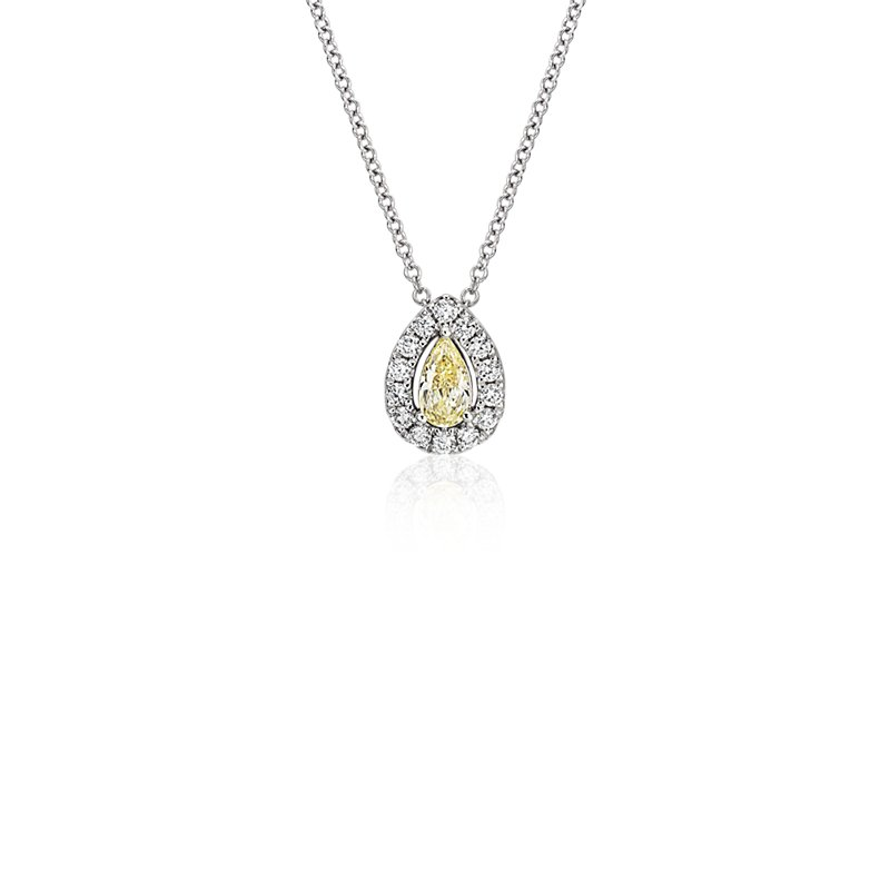 Yellow Diamond Pear-Cut Halo Pendant in 18k White and Yellow Gold