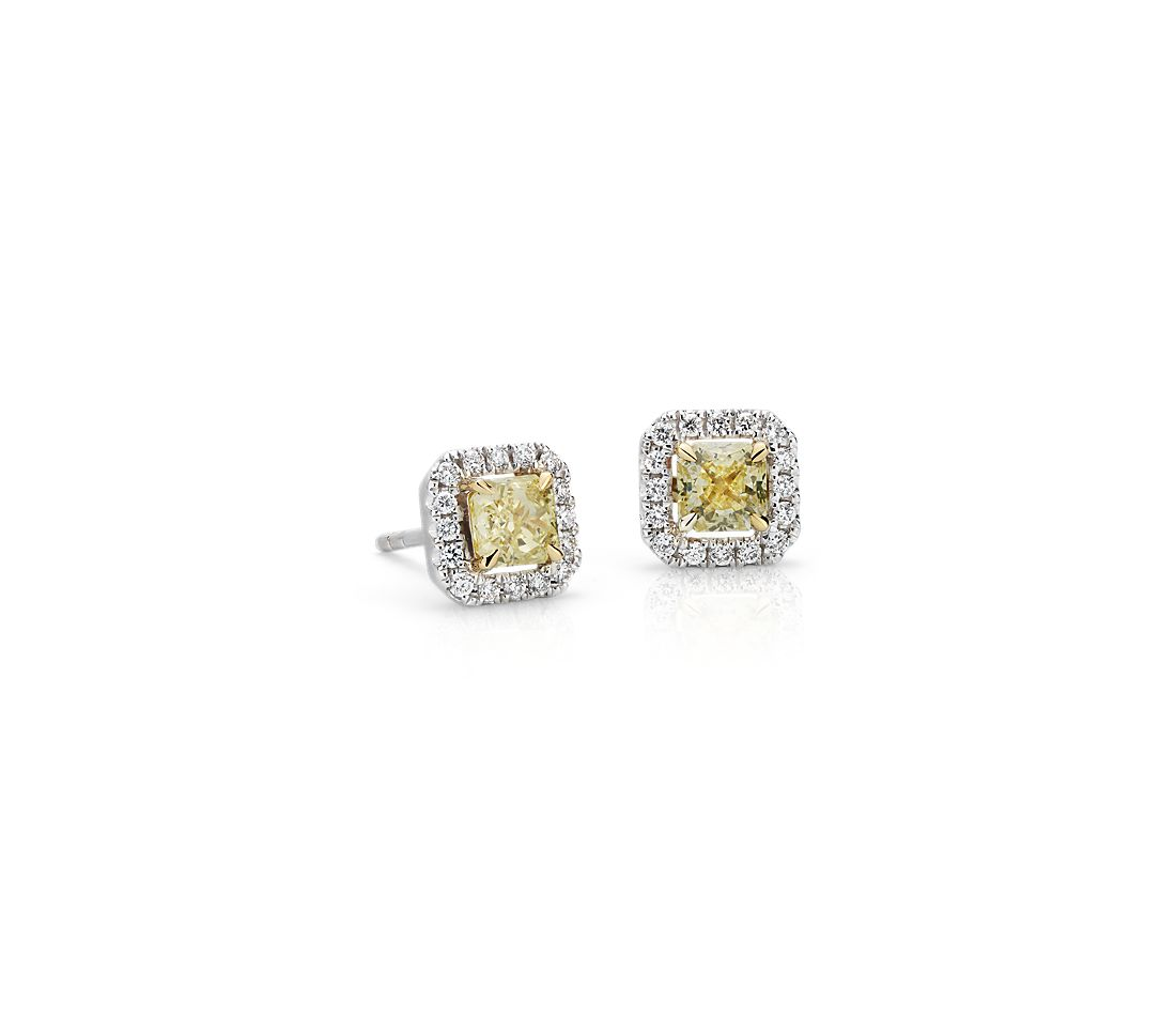 Radiant Cut Yellow Diamond Halo Stud Earrings In 18k White And Gold 7 8 Ct Tw