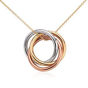 Colgante de anillos infinitos en oro tricolor de 14k